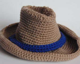 Crocheted Cowboy Hat, Baby's Hat, Toddler's Hat, Kid's Hat