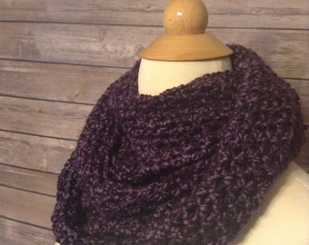 Homespun Cowl in purple, Cowl, Infinity, Scarf, Purple, Crochet