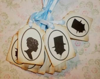50  Bride and Groom  CAMEO Wedding Wish Tags - Wish Tree  Wedding Favors-Elegant Wedding Tags
