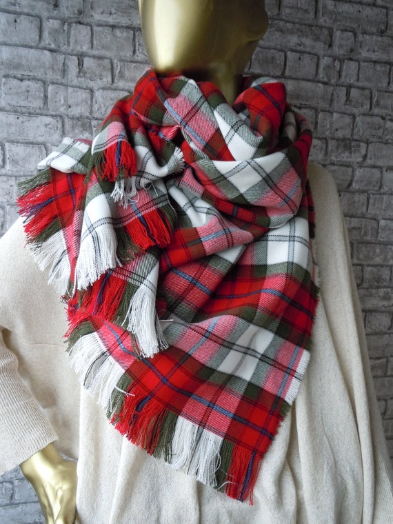 Red And Green Plaid Scarf Red White Green Scarf