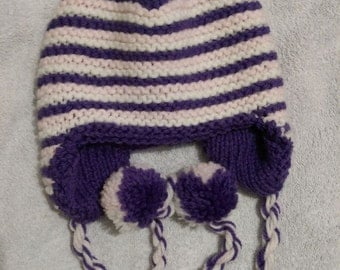 Hand knitted reversible purple, white and pink winter hat