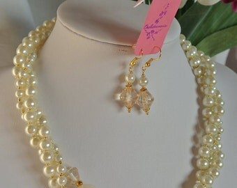 Classical Cream Acrylic pearl necklace and earring