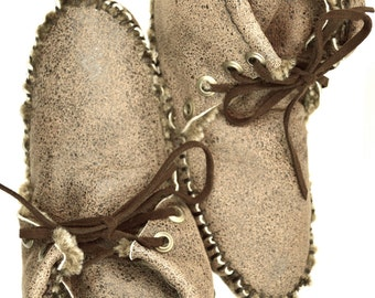 Distressed Chocolate Lambskin and Shearling Moccasin Booties, Handmade, Hand-sewn, Size 5