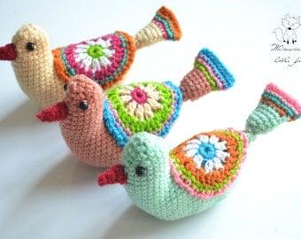 Crochet pattern, crochet bird pattern, amigurumi bird, Whimsical bird pattern, pattern no. 2