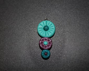 Three Circles Blue and Purple Polymer Clay Pendant