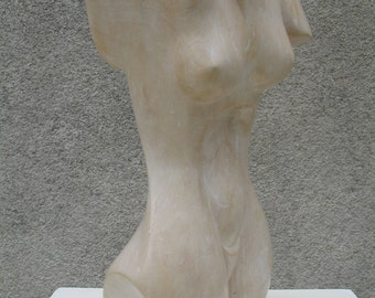 "Bust female limestone. Beautiful veining ochre. ""Cassiopeia"""