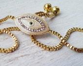 Evil Eye Bracelet  White & adjustable bracelet// Gold Plated Bracelet // Gift For Her//