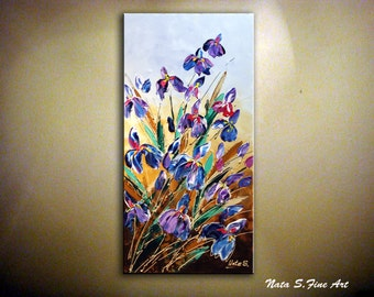"ORIGINAL Art Painting Textured Flowers Painting.Palette Knife.Impasto.Modern Irises Painting.Wall Art Decor 36""...by Nata ...MADE to ORDER"