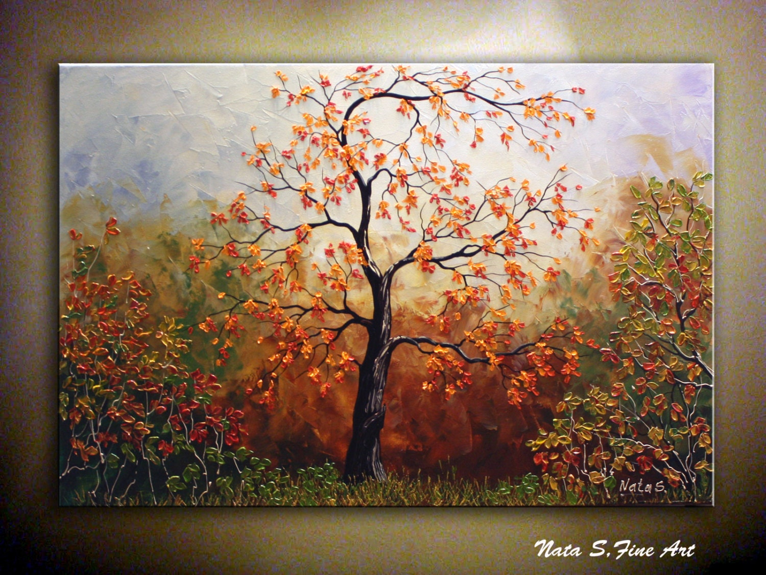 Original autumn tree painting abstract textured for Autumn tree painting