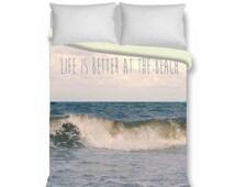 Beach duvet cover, ocean wave duvet cover set, coastal bedding, nautical duvet cover king queen duvet cover & shams, surf, teal, full, twin