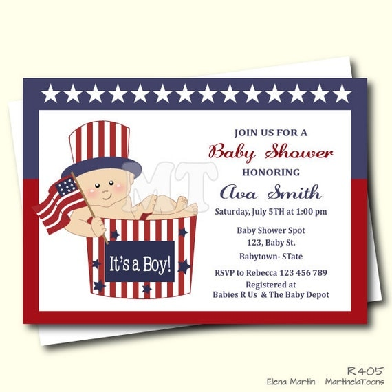 May The Fourth Be With You Baby Shower: Items Similar To 4th Of July Baby Shower Invitation