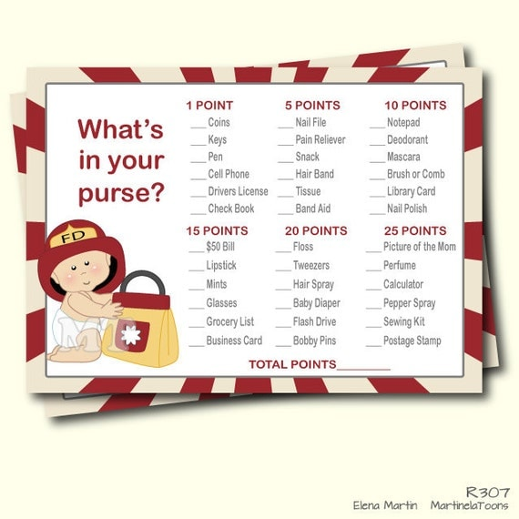Good DIY Firefighter Whatu0027s In Your Purse Baby Shower Game  Red Printable Boy  Babyshower Games  Instant Download  You Print