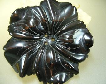 Black Onyx Huge Carved Flower Bead 60mm