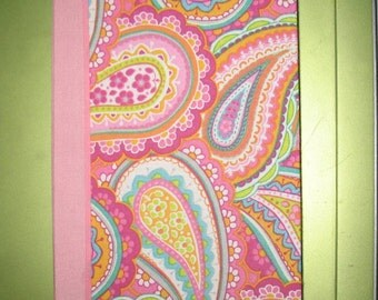 Hard Covered Hand  Bound Sketch Book in Pink Paisley - Sketch Book - Journal - Blank Book