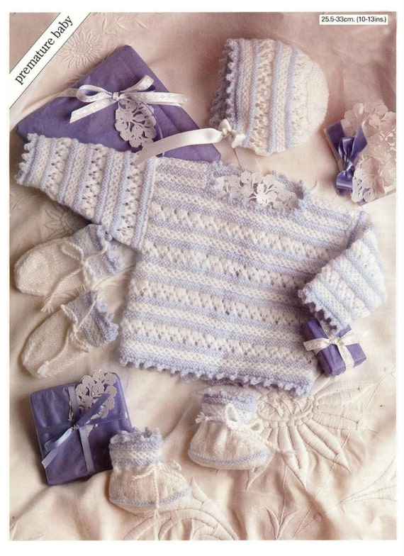 Knitting Pattern Angel Top : Vintage Knitting Pattern Premature Baby Angel Top Booties