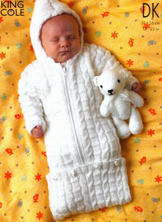 Knitting Pattern For Baby Grow Bag : 3 Designs Knit Baby Sleeping Bag Toddler by VintagePatternPDF