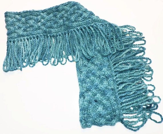 Hand Knit Scarf Chunky Scarf Baby Alpaca Hand Dyed by Terriforms