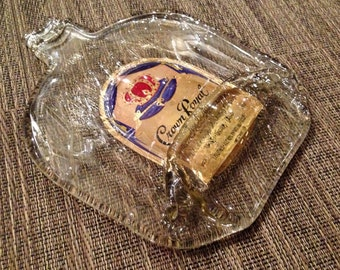 Crown Royal Melted Bottle dish with Label