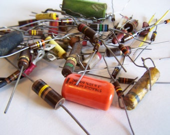100 Assorted Resistor / Capacitors Old Electronics Parts from Vintage Radio and Television Reclaimed  Art Supplies Steampunk