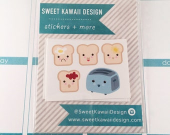 25 Kawaii Toast and Toaster Stickers