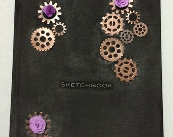 Distressed Rose and Gears Steampunk Journal