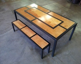 Wooden inlay kitchen table-TABLE ONLY