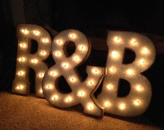 Wedding Marquee Sign 3-Letters, Custom Made Words, Initials, Lights, Centerpiece, MR & MRS
