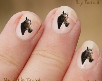Bay Portrait Horse Nail Art Stickers, Equine Nail Stickers, Horse Decal, nail Decal, Brown horse face