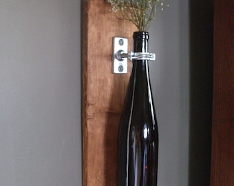 Wine Bottle Wall Vase Upcycled Reclaimed Rustic
