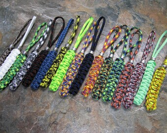 Perfect Paracord no core small hole knife lanyard keychain zipper pull for folding knives w/ bead over 30 colors available made in America