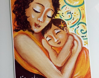 """Babywearing: High quality archival print of the original acrilic painting """"My miracle sleeping on my heart"""""""