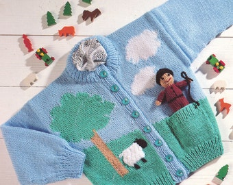 cardigan and farmer toy dk knitting pattern 99p