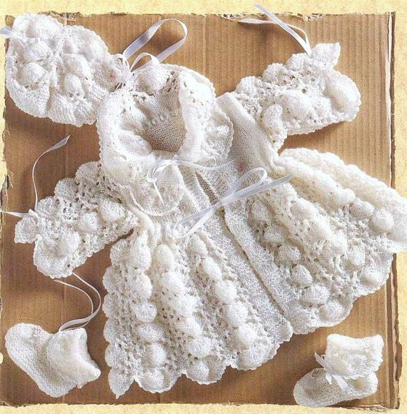 Baby Matinee Coat Knitting Patterns : Baby matinee coat bonnet and bootees knitting pattern p