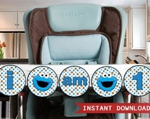 Cookie Monster High Chair Banner - I am 1 - INSTANT DOWNLOAD Printable - Cookie Monster Banner  Decoration Cookie Monster Highchair