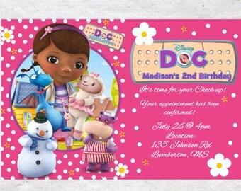 Doc Mcstuffins Birthday Invitation Invite Doc Mcstuffins Invitation  Doc Mcstuffins invite