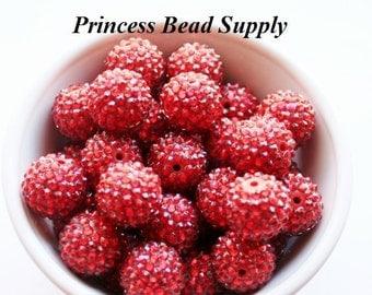 20mm Red AB Rhinestone Chunky Beads Set of 10, Bubble Gum Beads, Gumball Beads, Acrylic Beads