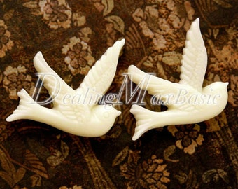 2Pcs 25x22x4 mm Ivory White Sparrow cabochon Resin Animal Vintage Style Cabochon Flat Back Fit Findings RB0595-1