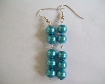 Pearlescent blue earrings
