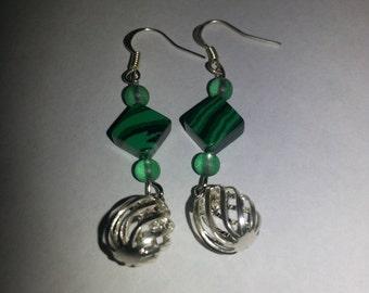 Green earrings, with silver dangle, silver earrings, silver, green