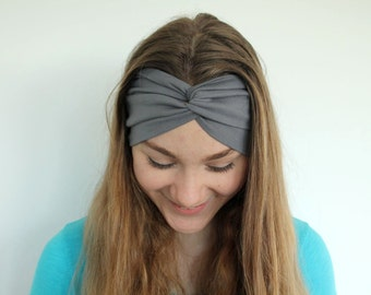Handmade Spring Accessory - Gray Turban Headband -  Twisted Headband - Womens Yoga Headband - Cotton Jersey Fabric - Handmade Headband