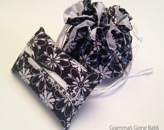 Jewelry Pouch and Tissue Holder - Black and White Floral with Butterflies Inside
