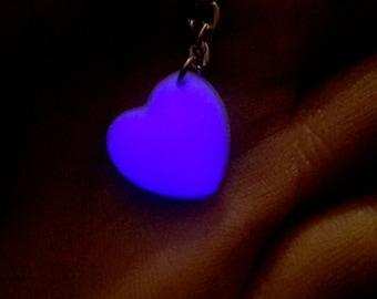 Purple Glow in the Dark Heart Necklace