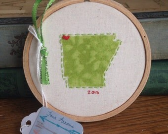 """Custom """"Love Your State"""" hand-embroidered Christmas ornament"""