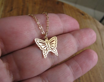 Gold necklace, butterfly necklace, gold butterfly necklace, rose gold butterfly necklace, dainty butterfly necklace