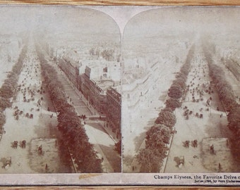 Rare ANTIQUE STEREOVIEW PHOTOGRAPH of Champs Elysees The Favorite Drive of Paris