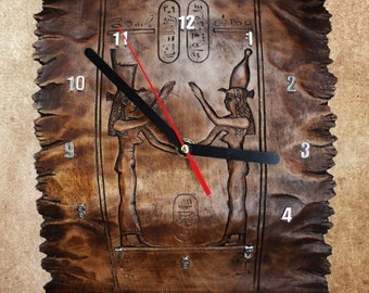 "Wall clock ""ancient Egyptian scroll."""
