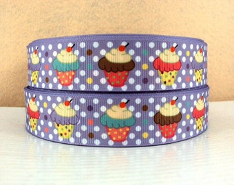 1 inch cute cupcakes on lavender with white polka dots - Printed Grosgrain Ribbon