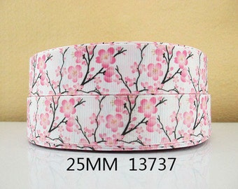 1 inch Pink Flowers on Branches on White - Printed Grosgrain Ribbon for Hair Bow