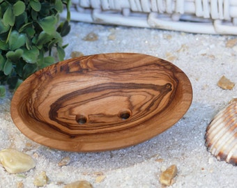 Soap dish oval (miniature) made of olive wood