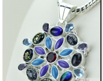 DICHROIC GLASS TURQUOISE Topaz Amethyst 925 Solid Sterling Silver Pendant + 4mm Snake Chain & Free Worldwide Shipping P1713